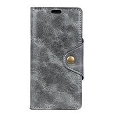 Leather Case Stands Flip Cover L05 Holder for Alcatel 5V Gray