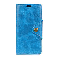 Leather Case Stands Flip Cover L05 Holder for Alcatel 7 Blue