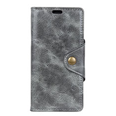 Leather Case Stands Flip Cover L05 Holder for Asus Zenfone Max ZB663KL Gray