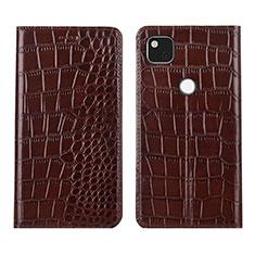 Leather Case Stands Flip Cover L05 Holder for Google Pixel 4a Brown