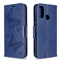 Leather Case Stands Flip Cover L05 Holder for Huawei P Smart (2020) Blue