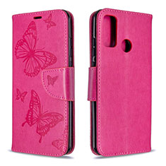 Leather Case Stands Flip Cover L05 Holder for Huawei P Smart (2020) Hot Pink