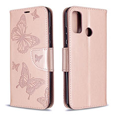 Leather Case Stands Flip Cover L05 Holder for Huawei P Smart (2020) Rose Gold