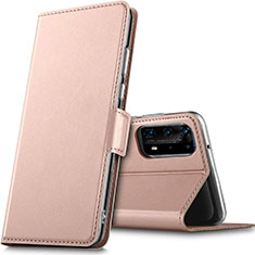 Leather Case Stands Flip Cover L05 Holder for Huawei P40 Pro+ Plus Rose Gold