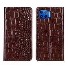 Leather Case Stands Flip Cover L05 Holder for Motorola Moto G 5G Plus Brown