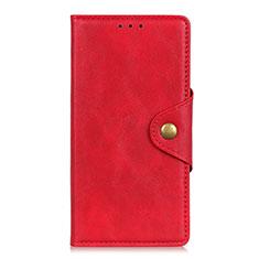 Leather Case Stands Flip Cover L05 Holder for Motorola Moto G8 Power Lite Red