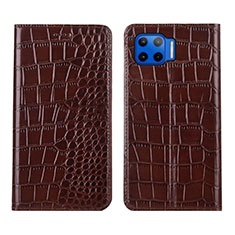 Leather Case Stands Flip Cover L05 Holder for Motorola Moto One 5G Brown