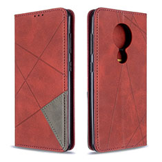 Leather Case Stands Flip Cover L05 Holder for Nokia 7.2 Red