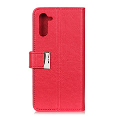 Leather Case Stands Flip Cover L05 Holder for OnePlus Nord Red