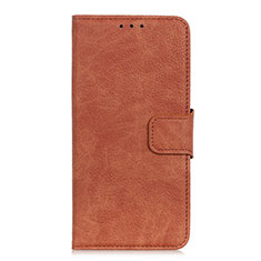 Leather Case Stands Flip Cover L05 Holder for Oppo A15 Brown