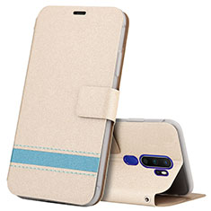 Leather Case Stands Flip Cover L05 Holder for Oppo A9 (2020) Gold