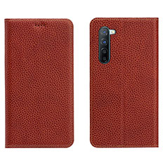 Leather Case Stands Flip Cover L05 Holder for Oppo Find X2 Lite Brown