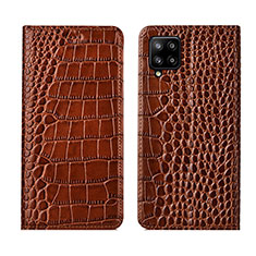 Leather Case Stands Flip Cover L05 Holder for Samsung Galaxy A42 5G Light Brown