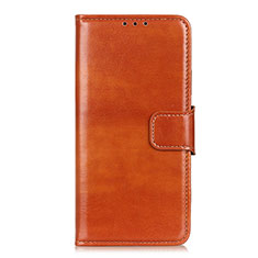 Leather Case Stands Flip Cover L05 Holder for Samsung Galaxy S21 5G Brown