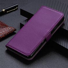Leather Case Stands Flip Cover L05 Holder for Sharp AQUOS Sense4 Plus Purple