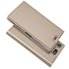 Leather Case Stands Flip Cover L05 Holder for Sony Xperia XZ1 Compact Gold