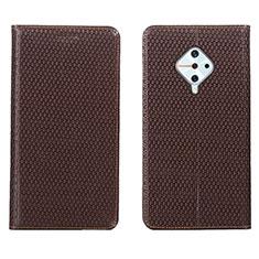 Leather Case Stands Flip Cover L05 Holder for Vivo X50 Lite Brown