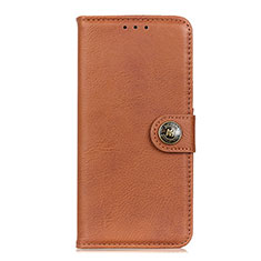 Leather Case Stands Flip Cover L05 Holder for Xiaomi Poco X3 NFC Light Brown