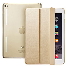 Leather Case Stands Flip Cover L06 for Apple iPad Mini 4 Gold