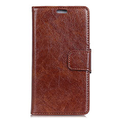 Leather Case Stands Flip Cover L06 Holder for Alcatel 1X (2019) Brown