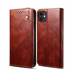 Leather Case Stands Flip Cover L06 Holder for Apple iPhone 12 Mini Brown
