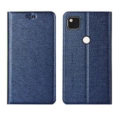 Leather Case Stands Flip Cover L06 Holder for Google Pixel 4a Blue