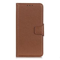 Leather Case Stands Flip Cover L06 Holder for Motorola Moto G Power Brown