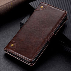 Leather Case Stands Flip Cover L06 Holder for Motorola Moto G9 Plus Brown