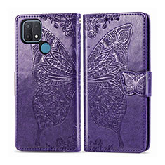 Leather Case Stands Flip Cover L06 Holder for Oppo A15 Purple