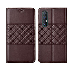 Leather Case Stands Flip Cover L06 Holder for Oppo Find X2 Neo Brown