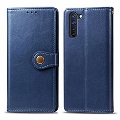 Leather Case Stands Flip Cover L06 Holder for Oppo Reno3 A Blue