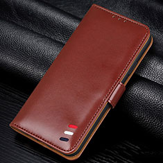 Leather Case Stands Flip Cover L06 Holder for Samsung Galaxy A41 Brown