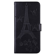 Leather Case Stands Flip Cover L06 Holder for Sony Xperia 8 Lite Black