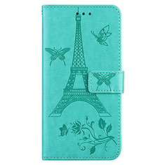 Leather Case Stands Flip Cover L06 Holder for Sony Xperia 8 Lite Cyan