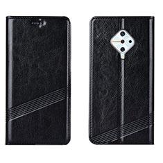 Leather Case Stands Flip Cover L06 Holder for Vivo X50 Lite Black