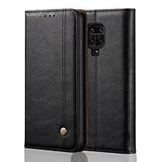 Leather Case Stands Flip Cover L06 Holder for Xiaomi Redmi Note 9 Pro Black