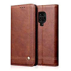 Leather Case Stands Flip Cover L06 Holder for Xiaomi Redmi Note 9 Pro Brown