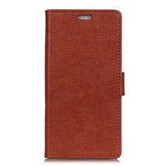 Leather Case Stands Flip Cover L07 Holder for Alcatel 1X (2019) Brown