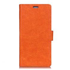 Leather Case Stands Flip Cover L07 Holder for Alcatel 1X (2019) Orange