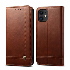 Leather Case Stands Flip Cover L07 Holder for Apple iPhone 12 Mini Brown