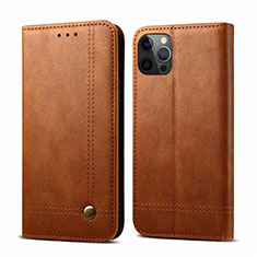 Leather Case Stands Flip Cover L07 Holder for Apple iPhone 12 Pro Light Brown