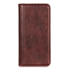 Leather Case Stands Flip Cover L07 Holder for LG Q52 Brown