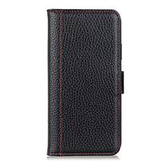 Leather Case Stands Flip Cover L07 Holder for Motorola Moto G8 Power Black