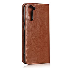 Leather Case Stands Flip Cover L07 Holder for Oppo Reno3 A Light Brown
