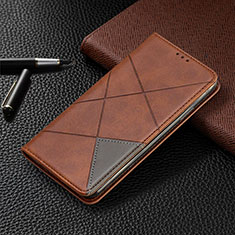 Leather Case Stands Flip Cover L07 Holder for Samsung Galaxy A41 Brown