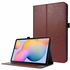 Leather Case Stands Flip Cover L07 Holder for Samsung Galaxy Tab S7 4G 11 SM-T875 Brown