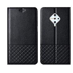 Leather Case Stands Flip Cover L07 Holder for Vivo X50 Lite Black