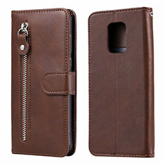 Leather Case Stands Flip Cover L07 Holder for Xiaomi Redmi Note 9 Pro Brown