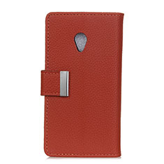 Leather Case Stands Flip Cover L08 Holder for Alcatel 1X (2019) Brown