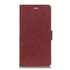 Leather Case Stands Flip Cover L08 Holder for Asus Zenfone 5 ZS620KL Red Wine